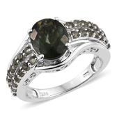 Bohemain Moldavite Platinum Over Sterling Silver Ring (Size 9.0) TGW 3.650 cts.
