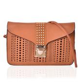 Brown Faux Leather Openwork Studded Flap Over Crossbody Clutch (8x5 in)