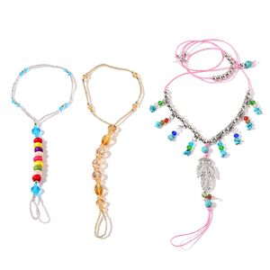 Multi Color Howlite, Simulated Pearl, Glass Silvertone Set of 3 Barefoot Anklets and Toe Ring (Stretchable) TGW 180.800 cts.