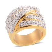 Austrian Crystal ION Plated YG Stainless Steel Band Ring (Size 7.0)