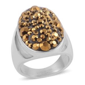 Golden Austrian Crystal Stainless Steel Ring (Size 7.0)