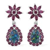 Australian Mosaic Opal, Orissa Rhodolite Garnet Platinum Over Sterling Silver Drop Earrings TGW 5.95 cts.