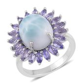 Larimar, Tanzanite Sterling Silver Ring (Size 7.0) TGW 7.750 cts.