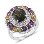 Bohemain Moldavite, Multi Gemstone Platinum Over Sterling Silver Ring (Size 8.0) TGW 5.920 cts.