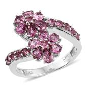 Pink Tourmaline Platinum Over Sterling Silver Floral Ring (Size 8.0) TGW 2.10 cts.