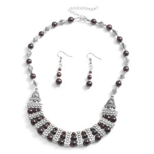 One Day TLV Indian Garnet Silvertone & Stainless Steel Earrings and Bib Necklace (18-20 in) TGW 75.00 cts.