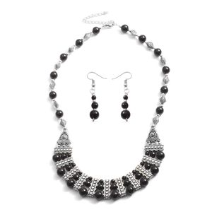 One Day TLV Black Agate Silvertone & Stainless Steel Earrings and Bib Necklace (18-20 in) TGW 75.00 cts.