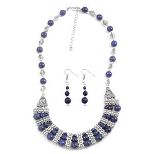 One Day TLV Lapis Lazuli Silvertone & Stainless Steel Earrings and Bib Necklace (18-20 in) TGW 75.00 cts.