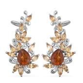 Santa Ana Madeira Citrine, Brazilian Citrine Platinum Over Sterling Silver Ear Cuff Earrings TGW 6.550 Cts.