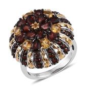 Mozambique Garnet, Brazilian Citrine 14K YG and Platinum Over Sterling Silver Ring (Size 6.0) TGW 5.61 cts.