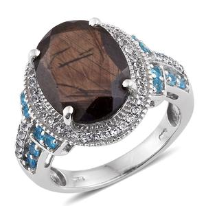Chocolate Sapphire, Malgache Neon Apatite, White Topaz Platinum Over Sterling Silver Ring (Size 7.0) TGW 12.000 cts.