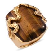 South African Tigers Eye, Champagne Austrian Crystal ION Plated YG Stainless Steel Ring (Size 9.0) TGW 21.000 cts.
