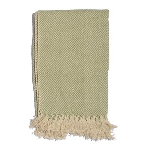 Green 100% Cotton Twill Weave Throw (65x55 In)