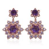 Stefy Amethyst, Multi Gemstone 14K RG Over Sterling Silver Dangle Earrings TGW 9.442 Cts.