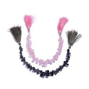 LC DIY Galilea Rose Quartz, Catalina Iolite Beads String Set of 2 TGW 170.000 cts.