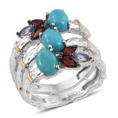Arizona Sleeping Beauty Turquoise, Mozambique Garnet, Tanzanite 14K YG and Platinum Over Sterling Silver Open Bamboo Ring (Size 6.0) TGW 3.58 cts.