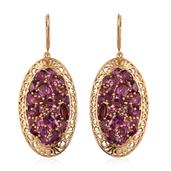 Orissa Rhodolite Garnet 14K YG Over Sterling Silver Lever Back Earrings TGW 14.582 Cts.