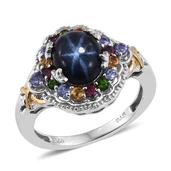 Thai Blue Star Sapphire, Multi Gemstone 14K YG and Platinum Over Sterling Silver Ring (Size 6.0) TGW 5.650 cts.
