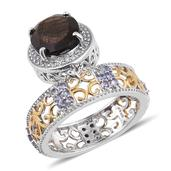 Chocolate Sapphire, Tanzanite, White Topaz 14K YG and Platinum Over Sterling Silver Dangle Band Ring (Size 8.0) TGW 8.23 cts.