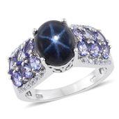 Thai Blue Star Sapphire, Tanzanite, White Topaz Platinum Over Sterling Silver Ring (Size 8.0) TGW 8.970 cts.
