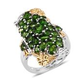 Russian Diopside 14K YG and Platinum Over Sterling Silver Elongated Ring (Size 8.0) TGW 5.360 cts.