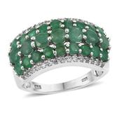Kagem Zambian Emerald, White Topaz Platinum Over Sterling Silver Ring (Size 10.0) TGW 3.600 cts.