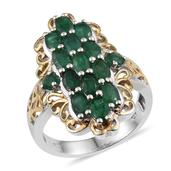 Kagem Zambian Emerald 14K YG and Platinum Over Sterling Silver Ring (Size 6.0) TGW 3.700 cts.