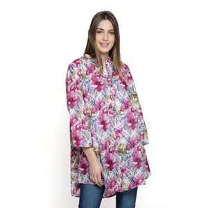 White and Fuchsia Floral Pattern 100% Cotton Tunic (Large)