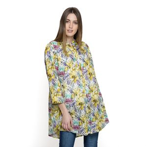 Yellow Floral Pattern 100% Cotton Tunic (34x27 in)
