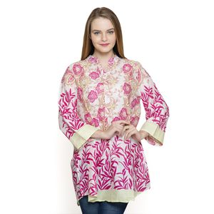 Pink Floral Pattern 100% Cotton Tunic (Large)