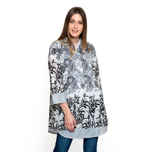 Gray and Black 100% Cotton Floral Pattern Tunic (Large)