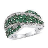 Kagem Zambian Emerald, White Topaz Platinum Over Sterling Silver Ring (Size 6.0) TGW 2.21 cts.