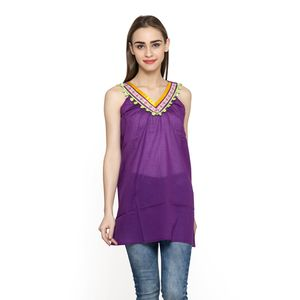 Purple 100% Cotton Tunic with Lace & Pom Pom (30x24.5 in)