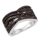 Red Diamond (IR) Platinum Over Sterling Silver Criss Cross Ring (Size 8.0) TDiaWt 1.00 cts, TGW 1.000 cts.