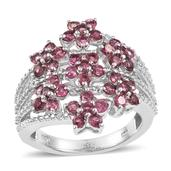Morro Redondo Pink Tourmaline, White Topaz Platinum Over Sterling Silver Openwork Bypass Floral Ring (Size 8.0) TGW 2.12 cts.