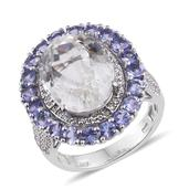 XIA Kunzite, Tanzanite, White Topaz Platinum Over Sterling Silver Ring (Size 9.0) TGW 16.660 cts.