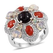 Ethiopian Sable Welo Opal, Mediterrean Coral, White Topaz Platinum Over Sterling Silver Statement Ring (Size 9.0) TGW 5.84 cts.