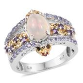 Ethiopian Welo Opal, Multi Gemstone 14K YG and Platinum Over Sterling Silver Ring (Size 9.0) TGW 2.140 cts.