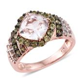 XIA Kunzite, Ambanja Demantoid Garnet, White Topaz 14K RG Over Sterling Silver Ring (Size 7.0) TGW 5.080 cts.