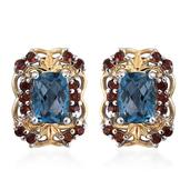London Blue Topaz, Mozambique Garnet 14K YG and Platinum Over Sterling Silver Stud Earrings TGW 2.750 Cts.