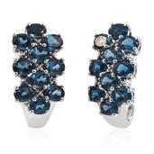 London Blue Topaz Platinum Over Sterling Silver J-Hoop Earrings TGW 9.20 cts.