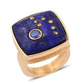 Lapis Lazuli, Simulated Blue Diamond, Yellow Austrian Crystal ION Plated YG Stainless Steel Ring (Size 8.0) TGW 20.000 cts.