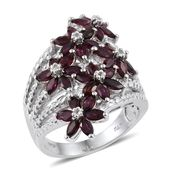 Anthill Garnet, White Topaz Platinum Over Sterling Silver Floral Split Ring (Size 6.0) TGW 4.06 cts.