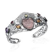 Artisan Crafted Galilea Rose Quartz, Multi Gemstone Sterling Silver Carved Face Openwork Cuff (7.50 in) TGW 25.540 Cts.