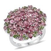 Pink Tourmaline, Russian Diopside 14K YG and Platinum Over Sterling Silver Cluster Ring (Size 7.0) TGW 5.470 cts.