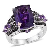 Lusaka Amethyst, Amethyst, Thai Black Spinel Platinum Over Sterling Silver Ring (Size 6.0) TGW 8.190 cts.