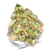 Hebei Peridot, Swiss Blue Topaz 14K YG and Platinum Over Sterling Silver Elongated Ring (Size 7.0) TGW 9.14 cts.