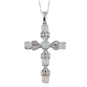 Ethiopian Welo Opal Platinum Over Sterling Silver Cross Pendant With Chain (20 in) TGW 2.800 Cts.
