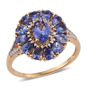 Premium AAA Tanzanite 14K YG Over Sterling Silver Ring (Size 9.0) TGW 2.410 cts.