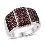 Anthill Garnet Platinum Over Sterling Silver Ring (Size 5.0) TGW 2.75 cts.
